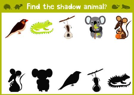 rata caricatura: Ilustración de dibujos animados de Educación de la sombra juego de las coincidencias para niños en edad preescolar encontrar sombra para los animales lindos.