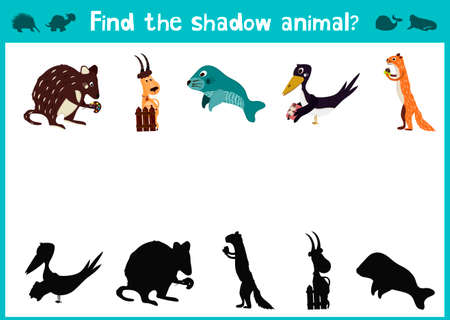 magpie: Cartoon Illustration of Education Shadow Matching Game for Preschool Children, find a shadow to happy animals. Illustration