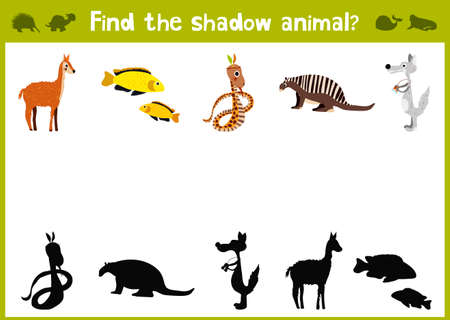 brainteaser: Cartoon Illustration of Education Shadow Matching Game for Preschool Children find shade for all animals.