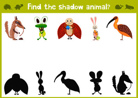 Cartoon Illustration of Education Shadow Matching Game for Preschool Children find the shade for five cute animals. Vector Illustration