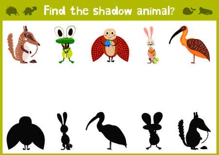 animals shadow: Cartoon Illustration of Education Shadow Matching Game for Preschool Children find the shade for five cute animals. Illustration