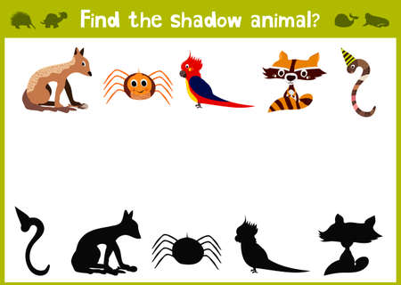 matching: Cartoon Illustration of Education Shadow Matching Game for Preschool Children find the five colorful shade for animals. Illustration
