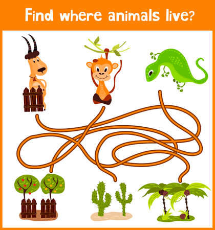 brain puzzle: Fun and colorful puzzle game for childrens development find where a green lizard, a horned goat and a monkey.