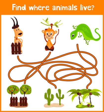 jaszczurka: Zabawa i kolorowa gra logiczna dla rozwoju dzieci dowiedzieć się, gdzie zielona jaszczurka, rogaty kozioł i małpa.