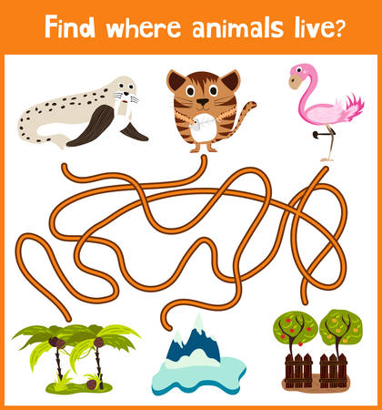 Fun and colorful puzzle game for childrens development find where a walrus, pink flamingos, and a pet kitten.