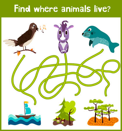 iq: Fun and colorful puzzle game for childrens development find where you live a Nightingale, Rhino and manatee animals. Illustration