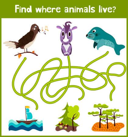 juego de puzzle divertido y colorido para el hallazgo desarrollo de los niños, donde se vive un ruiseñor, Rhino y animales de manatíes. Ilustración de vector
