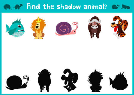 Mirror Image of five different animals happy and good Visual Game. Task find the right answer black shadow animals.