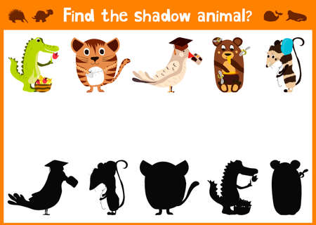 mirror image: Mirror Image five different cute animals and a good Visual Game. Task find the right shadow image answer mirror. Illustration