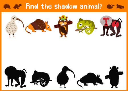 mirror image: Mirror Image five different cute animals and a good Visual Game. Task find the right answer black shadow animals.