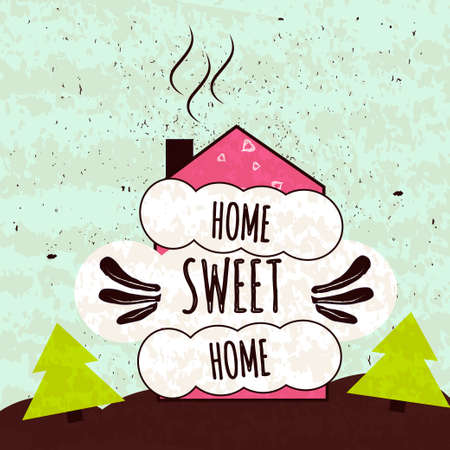 Colorful typographic motivational poster about the love of home and comfort. Home sweet home.