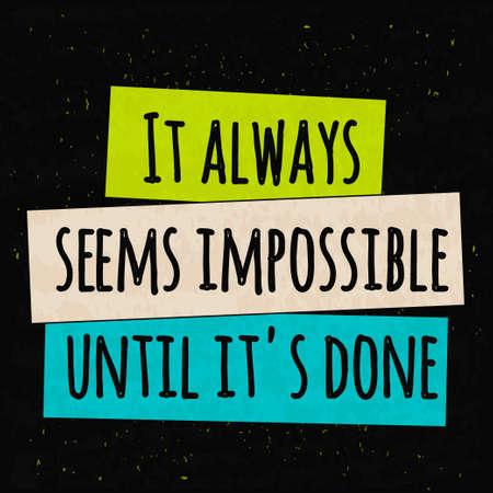mision: Colorido cartel de motivación tipográfica para elevar la fe en sí mismo y su fuerza. La serie de conceptos de negocio en un fondo texturizado de las posibilidades. ilustración vectorial