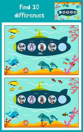 floats: Cartoon Vector Illustration of Education to find 10 differences in childrens pictures, the submarine floats in the ocean with animals . Matching Game for Preschool Children. Vector illustration Illustration