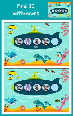 Vector de dibujos animados Ilustración de Educación para encontrar las 10 diferencias en las imágenes de los niños, el submarino flota en el océano con los animales. Juego a juego para los niños en edad preescolar. Ilustración vectorial Foto de archivo - 50676773