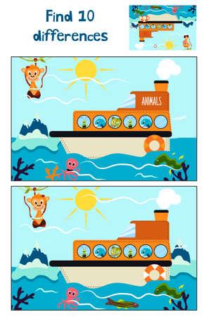 Cartoon of Education 10 Unterschiede zu finden in Kinderbildern, schwimmt das Boot mit Waldtieren rund um die Antarktis und Gletscher. Matching-Spiel für Vorschulkinder. Vektor-Illustration