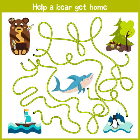 logical: Cartoon of Education will continue the logical way home of colourful animals. Take a bear home in the woods by wild predatory sharks. Matching Game for Preschool Children. Vector illustration