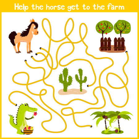 Cartoon of Education will continue the logical way home of colourful animals. Spend a nice home on horse farm on the right track. Matching Game for Preschool Children. Vector illustration