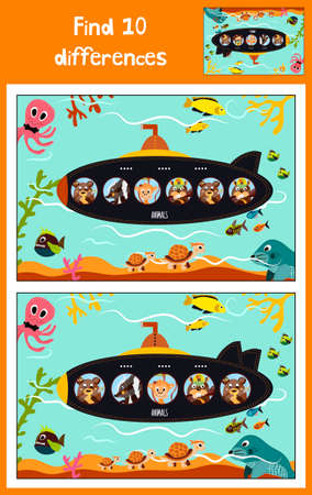 floats: Cartoon of Education to find 10 differences in childrens pictures submarine floats with animals among marine fishes and inhabitants . Matching Game for Preschool Children. Vector illustration