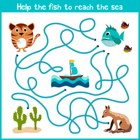 Cartoon of Education will continue the logical way home of colourful animals.Help take the fish home in the sea right on the stream. Matching Game for Preschool Children. Vector illustration