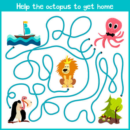 logical: Cartoon of Education will continue the logical way home of colourful animals.Help the octopus to reach home at the bottom of the ocean. Matching Game for Preschool Children. Vector illustration