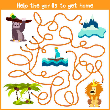 right path: Cartoon of Education will continue the logical way home of colourful animals.Help me get the gorilla home in  jungle on the right path. Matching Game for Preschool Children. Vector illustration