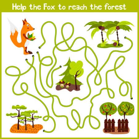 교육의 만화 나 숲에서 교묘 한 붉은 여우 야생 가정을 얻을 다채로운 animals.Help의 논리적 인 방법으로 집에 계속됩니다. 취학 전 어린이를위한 게임을  일러스트