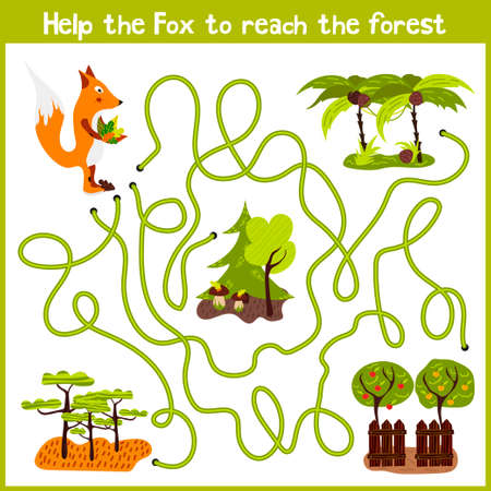 Cartoon of Education will continue the logical way home of colourful animals.Help me get crafty red Fox wild home in the forest. Matching Game for Preschool Children. Vector illustration Illustration