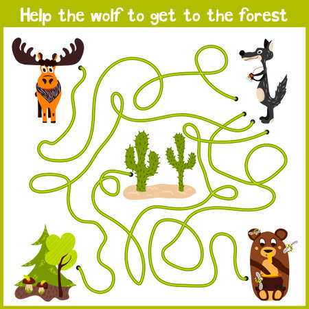 gray wolf: Cartoon of Education will continue the logical way home of colourful animals. Bring the gray wolf home to the fairy forest on the right track. Matching Game for Preschool Children. Vector illustration Illustration