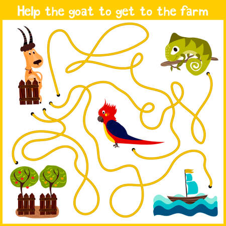 right path: Cartoon of Education will continue the logical way home of colourful animals.Help to get the goat home to the farm on the right path. Matching Game for Preschool Children. Vector illustration