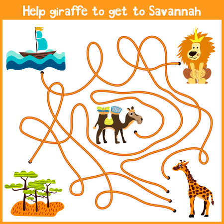logical: Cartoon of Education will continue the logical way home of colourful animals.Help giraffe to get home to the territory of the Savannah. Matching Game for Preschool Children. Vector illustration Illustration