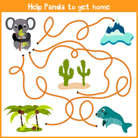 Cartoon of Education will continue the logical way home of colourful animals. Help marsupial the Koala bear to get home to Australia. Matching Game for Preschool Children. Vector illustration