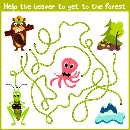 logical: Cartoon of Education will continue the logical way home of colourful animals. Help the beaver to get home in the wild forest. Matching Game for Preschool Children. Vector illustration