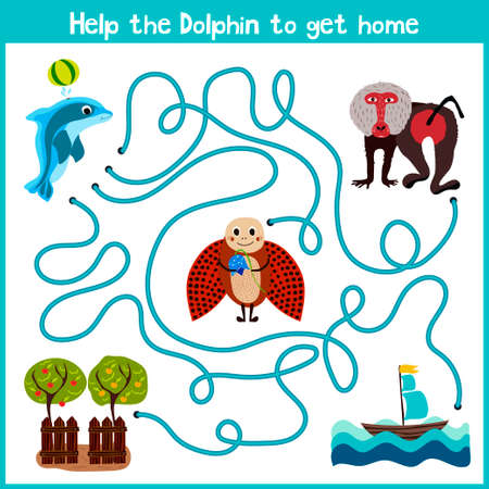 education help: Cartoon of Education will continue the logical way home of colourful animals. Help little Dolphin to swim home in the ocean. Matching Game for Preschool Children. Vector illustration