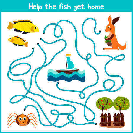 Cartoon of Education will continue the logical way home of colourful animals. Help the little yellow fish swim home into the ocean. Matching Game for Preschool Children. Vector illustration