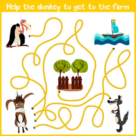 education help: Cartoon of Education will continue the logical way home of colourful animals. Help the donkey to get home in the barnyard. Matching Game for Preschool Children. Vector illustration Illustration
