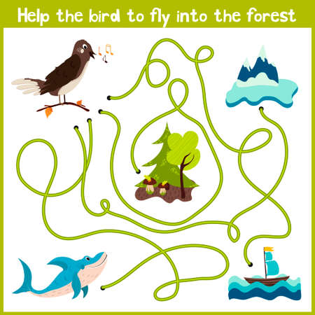 ruise�or: Cartoon of Education will continue the logical way home of colourful animals. Help the bird Nightingale to get home in the wild forest. Matching Game for Preschool Children. Vector illustration Vectores