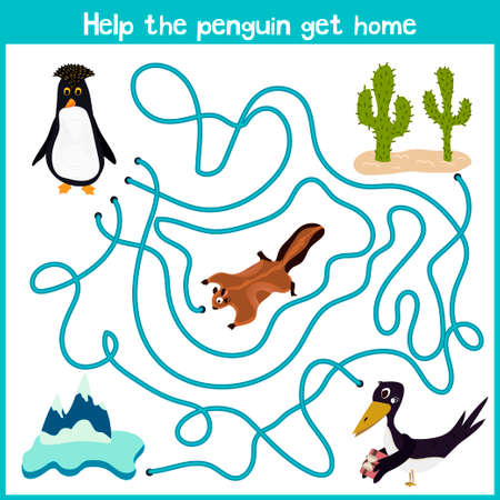 education help: Cartoon of Education will continue the logical way home of colourful animals. Help this cute penguin to get home in the cold Arctic. Matching Game for Preschool Children. Vector illustration