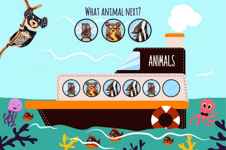 logical: Cartoon Vector Illustration of Education will continue the logical series of colourful animals on a boat in the ocean among sea creatures. Matching Game for Preschool Children. Vector illustration Illustration