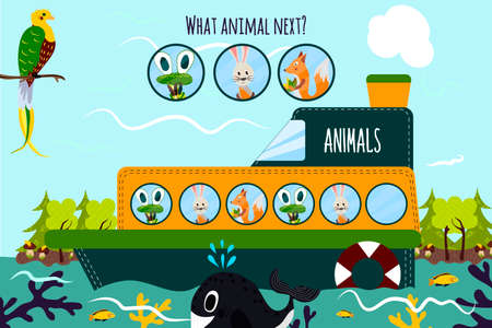 enumerate: Cartoon Vector Illustration of Education will continue the logical series of colourful animals on a boat in the ocean among the wild forests. Matching Game for Preschool Children. Vector illustration