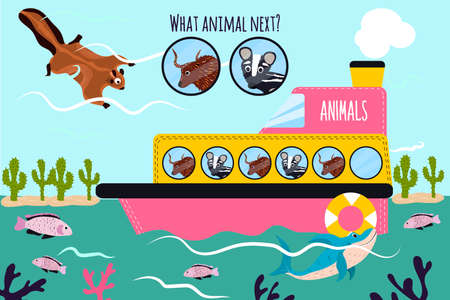 logical: Cartoon Vector Illustration of Education will continue the logical series of colourful animals on a boat in the ocean among  fishes, deserts. Matching Game for Preschool Children. Vector illustration Illustration