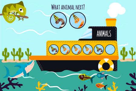 gusano caricatura: Vector de dibujos animados de Educación continuará la serie lógica de animales coloridos de gusanos en el barco en el océano entre los peces. Juego a juego para niños en edad preescolar. ilustración vectorial Vectores