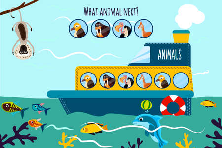 logical: Cartoon Vector Illustration of Education will continue the logical series of colourful animals on a ship in the ocean among sea fishes. Matching Game for Preschool Children. Vector illustration