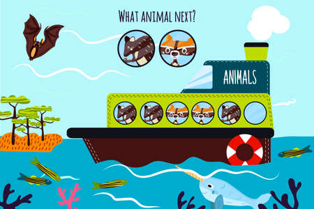 logical: Cartoon Vector Illustration of Education will continue the logical series of colourful animals on a boat in the ocean among Islands. Matching Game for Preschool Children. Vector illustration Illustration