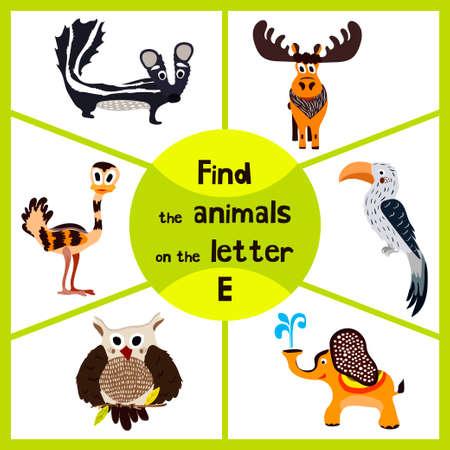 apprentissage drôle jeu de labyrinthe, trouver tous les 3 animaux mignons avec la lettre E, l'UEM, l'éléphant, le wapiti. cranica éducatif pour les enfants d'âge préscolaire. Vector illustration