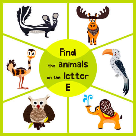 Funny learning maze game, find all 3 cute animals with the letter E, EMU, elephant, elk. Educational cranica for preschoolers. Vector illustration