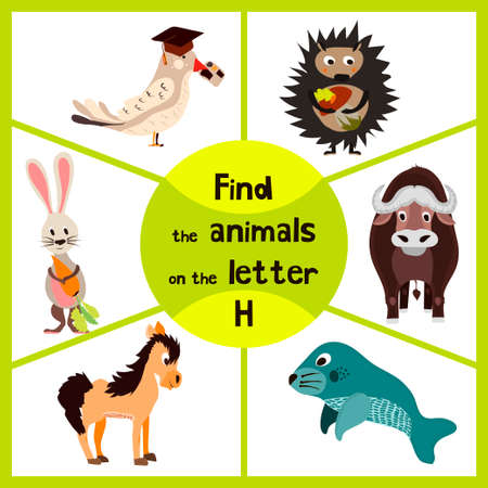manatee: Funny learning maze game, find all of cute wild animals 3 the letter H, forest hedgehog and the hare, a horse farm home. Educational page for children. Vector illustration Illustration