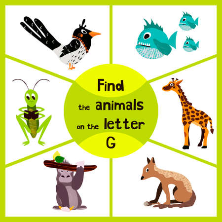 g giraffe: Funny learning maze game, find all 3 cute wild animals with the letter G, tropical gorilla, giraffe from Savannah and grasshopper insect. Educational page for children. Vector illustration