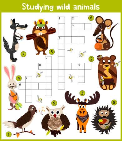 Eine bunte Kinder-Comics oder Kreuzwort, Bildung Spiel für Kinder zum Thema von verschiedenen Arten von wilden Tieren des Waldes zu erkunden, finden Sie einen Bären, Wölfe, Hasen und Igeln. Vektor-Illustration