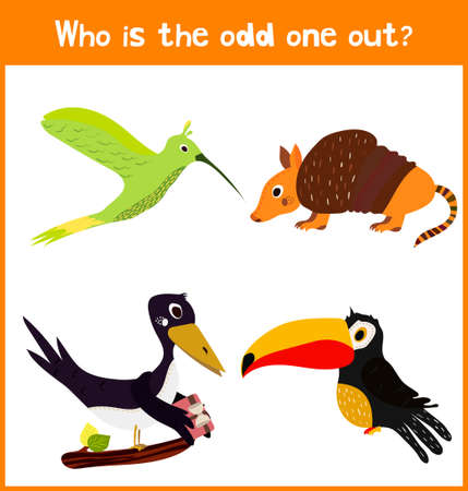 odd: Children colorful educational cartoon game puzzle page for childrens books and magazines on the theme extra find among wild animal lovely birds. Vector illustration Illustration