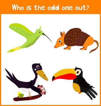 Niños página de puzzle juego de dibujos animados coloridos educativos para libros y revistas para niños sobre el tema hallazgo adicional entre los animales salvajes pájaros preciosos. ilustración vectorial Ilustración de vector